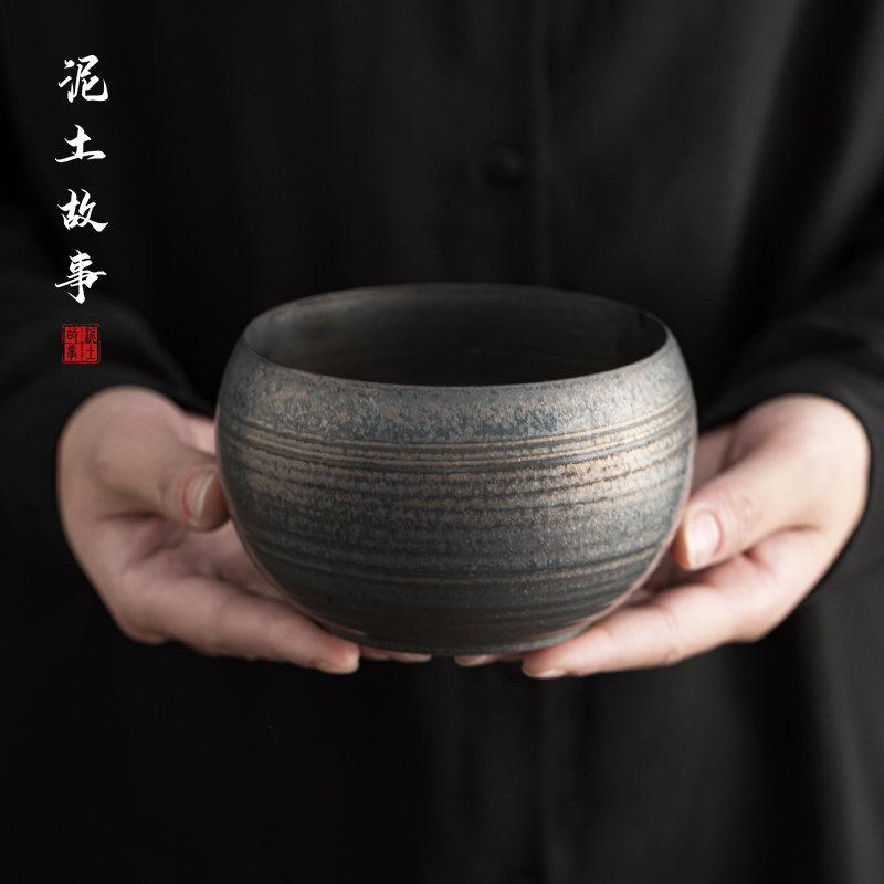 Jingdezhen hand made undressed ore iron glaze tracey water washed by hand wipe the bowl Japanese metal glaze kung fu tea set