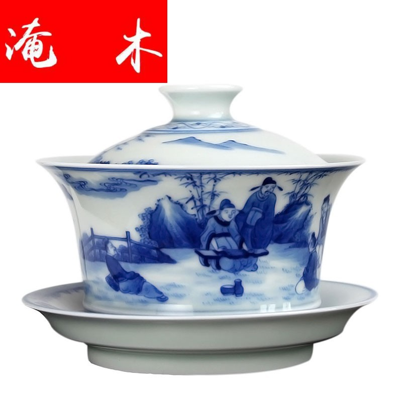 Flooded wood antique tureen manual of blue and white porcelain tea set hand - made teacup jingdezhen ceramic seven sages of bamboo forest tea tureen