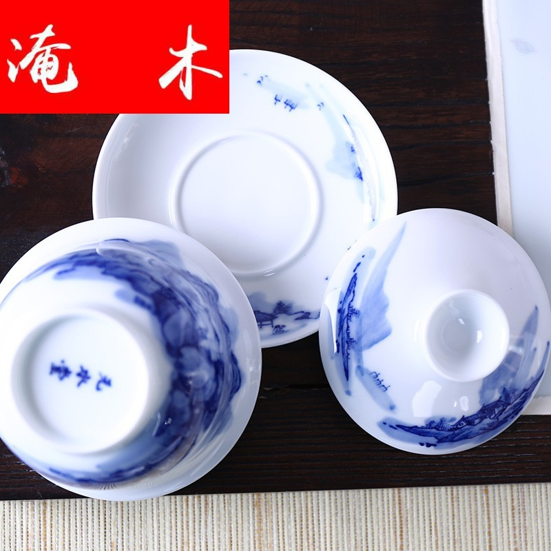 Submerged wood kung fu tea set hand - made scenery tureen tureen of blue and white porcelain ceramic bowl 180 ml cups