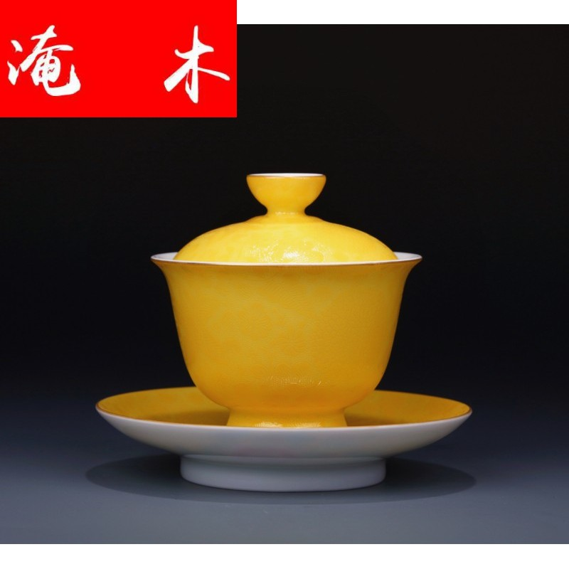 Flooded wooden angel ceramics jingdezhen traditional manual hand - made pastel steak to painting of flowers and floral tureen tea tea