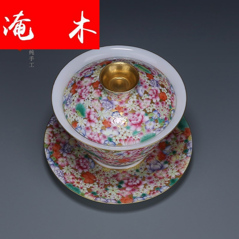 Flooded wood jingdezhen manual hand - made tureen tea ceramics powder enamel gold base than spend three to bowl bowl flowers