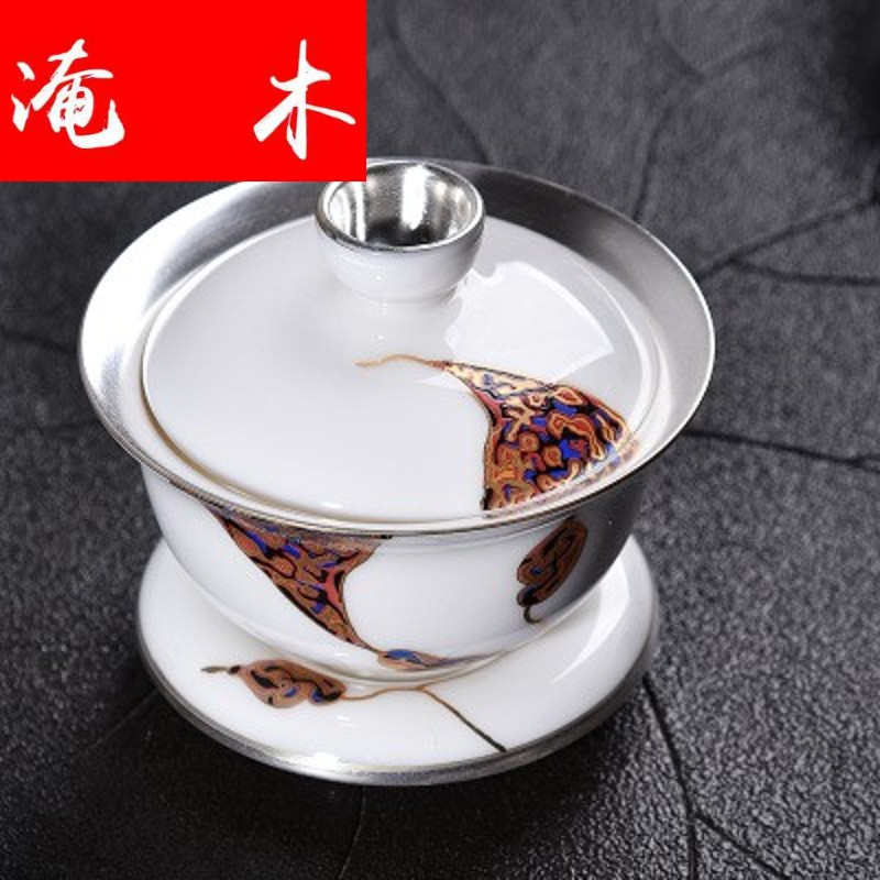 Flooded three wooden household silver tureen of blue and white porcelain ceramic tasted silver gilding big bowl of kung fu tea tea bowl to bowl