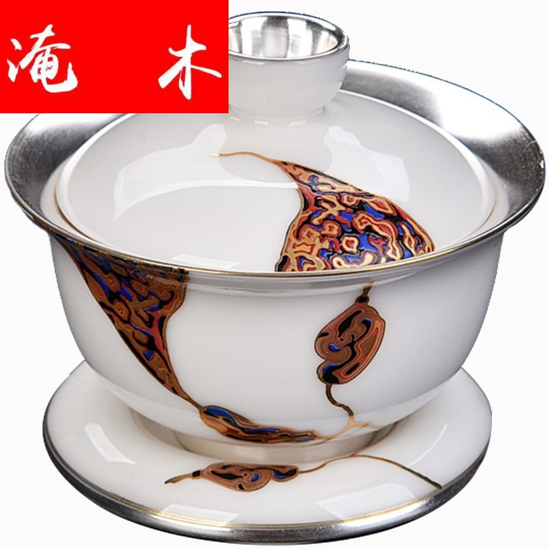 Submerged wood gode white porcelain coppering. As silver tureen ceramic hand three sizes to make tea bowl kung fu tea set