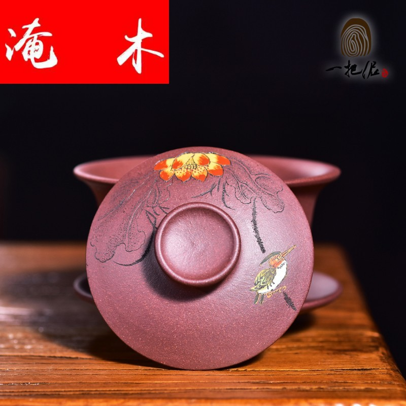 Submerged wood high - end violet arenaceous bowl tea tureen boutique kung fu tea sea three bowl of tea mud painting new purple clay