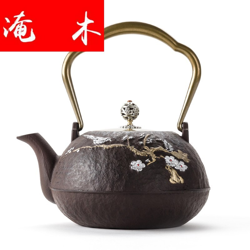 Flooded wooden household cast iron teapot electric burn blisters TaoLu kettle boiling tea ware ceramic tea set of girder pot