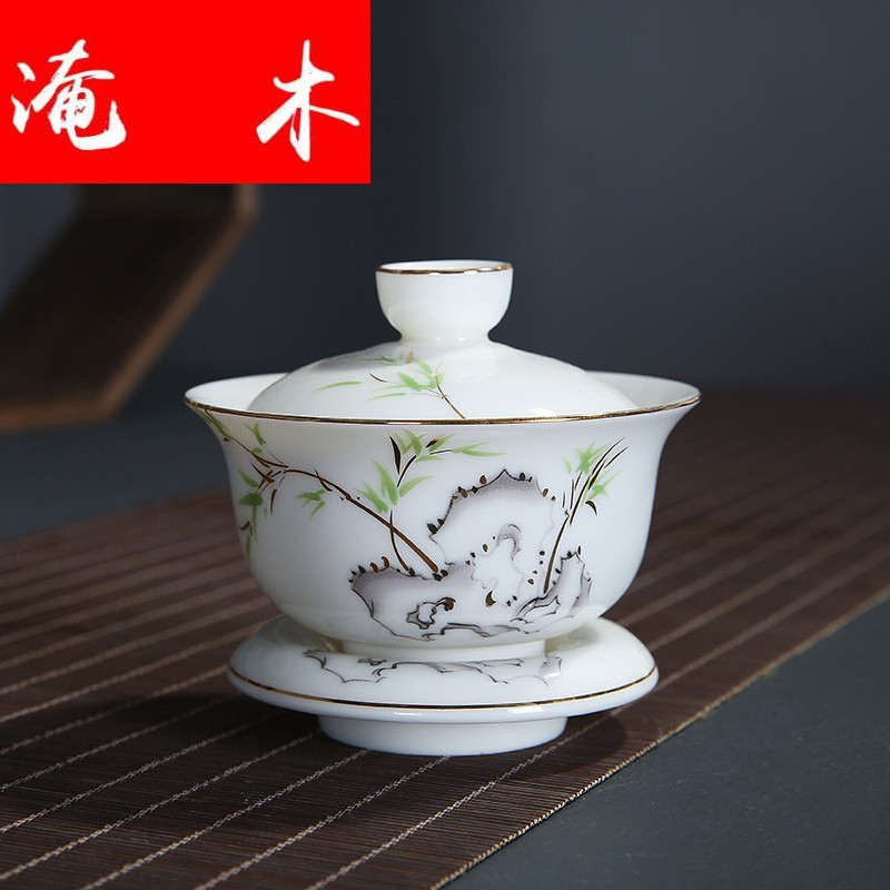 Submerged wood pure white ceramic only three tureen supersize dehua white porcelain paint kung fu tea bowl