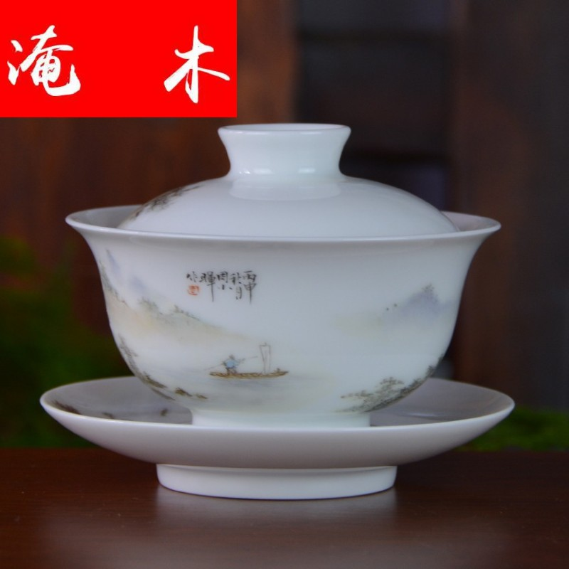 Submerged wood jingdezhen blue and white porcelain checking tea tureen pastel hand - made scenery tureen three tureen