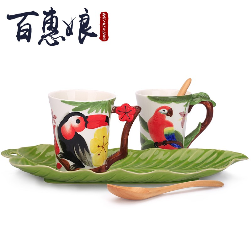 (niang 3 d animal cup high - capacity mugs creative glass lovers disc ceramic cups set in the afternoon