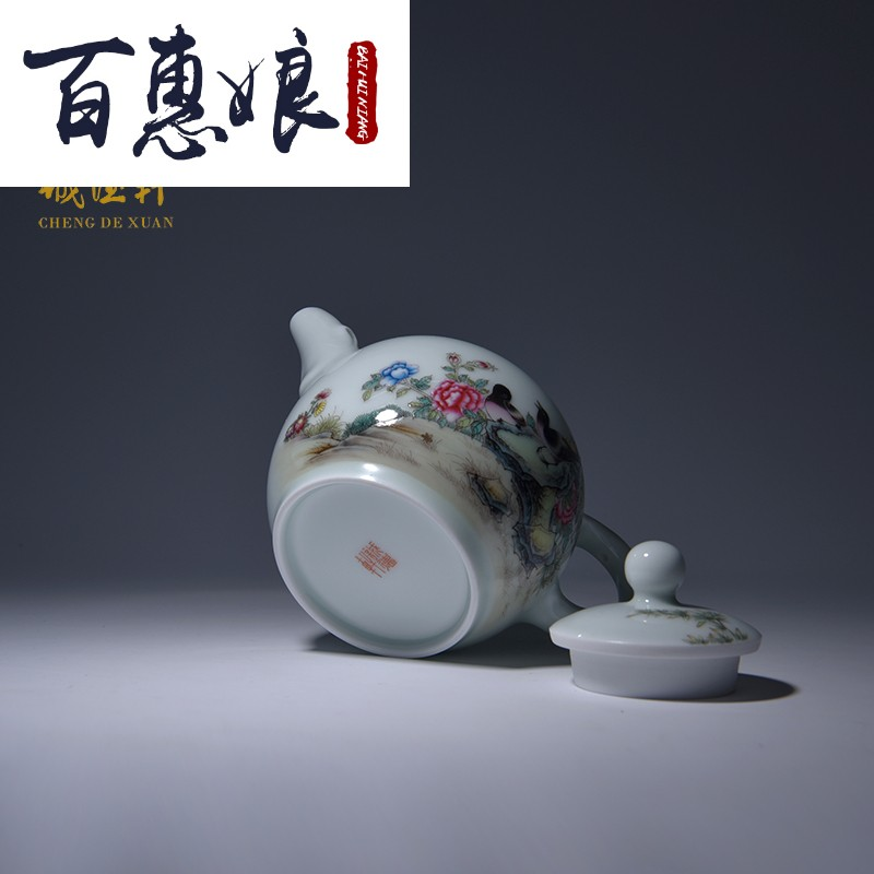 (niang manual hand powder enamel teapot tea set porcelain jingdezhen high purity end 1 fang Yin classical
