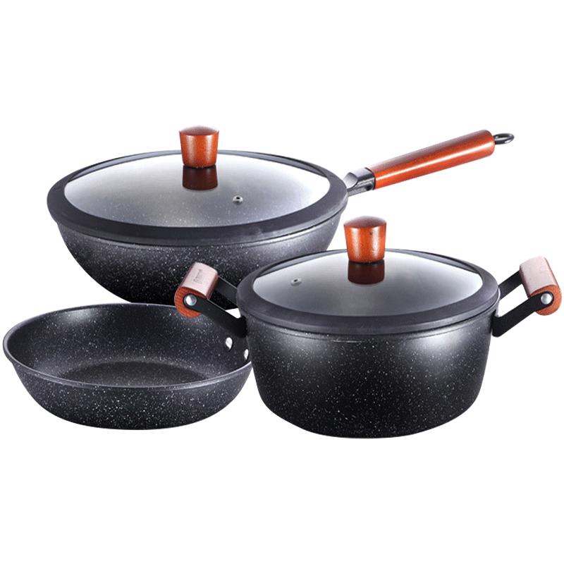 麥飯石炒鍋套裝不粘鍋煤氣灶電磁爐三件套組合家用鍋具套裝炒菜鍋
