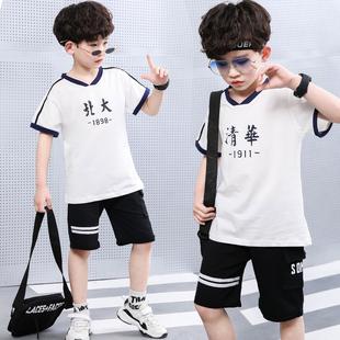 男女童短袖套装T恤2019夏新款全棉字母儿童学院兄妹清华北大短袖