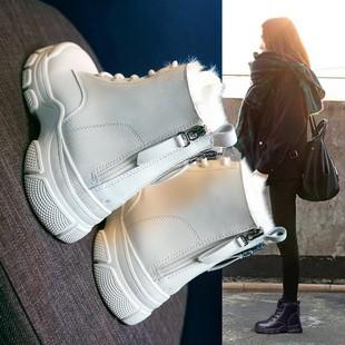 雪地靴女鞋子2019新款时尚冬季马丁短靴冬款加绒棉鞋加厚保暖冬鞋