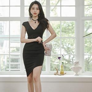 6286#2020夏新款韩版时尚优雅显瘦性感包臀连衣裙不规则...