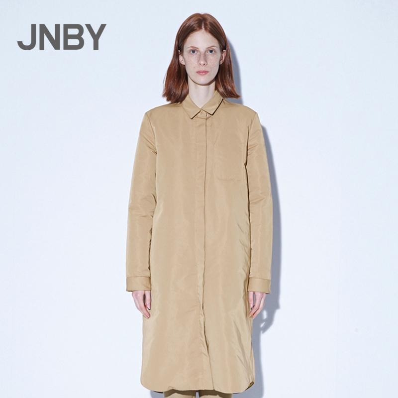 JNBY-江南布衣2018秋新品印花长款衬衫式羽绒服外套女5H9701310