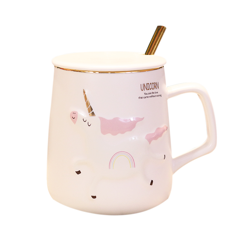Move the mark cup with cover spoon cartoon creative trend high - capacity express the girl unicorn ceramic cup cup