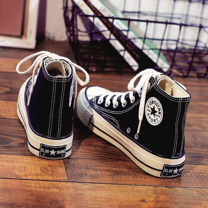 潮鞋新款1970s高帮帆布鞋女韩版百搭ulzzang2019春季学生布鞋板鞋
