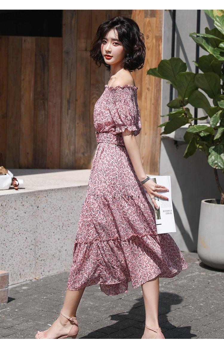 2019流行夏天裙子新款过膝雪纺碎花一字肩很仙的小众连衣裙长裙潮