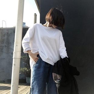 T恤女长袖白色打底衫女?#21543;?#34915;薄款
