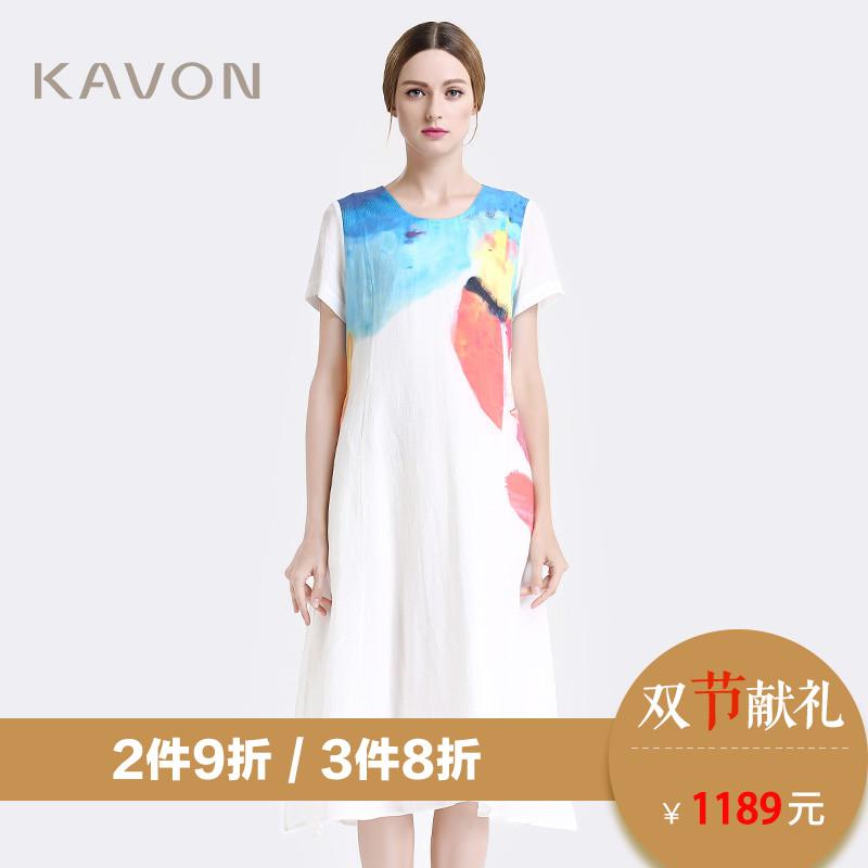 Kavon-卡汶 品牌 文艺水墨印花舒适短袖连衣裙