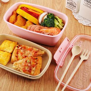 日式锁扣小麦分格餐盒上班学生密封便当盒保鲜塑料微波炉双层饭盒