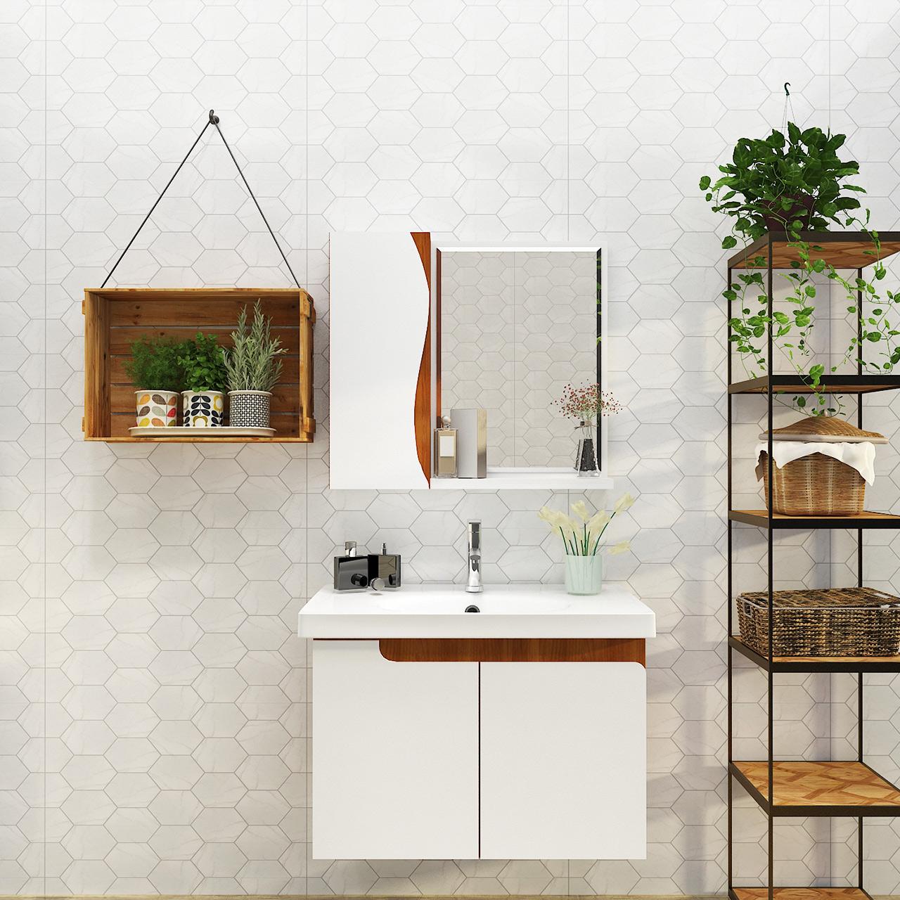 ARROW箭牌卫浴现代轻奢欧式挂墙式浴室柜淋浴花洒套装卫生间组合