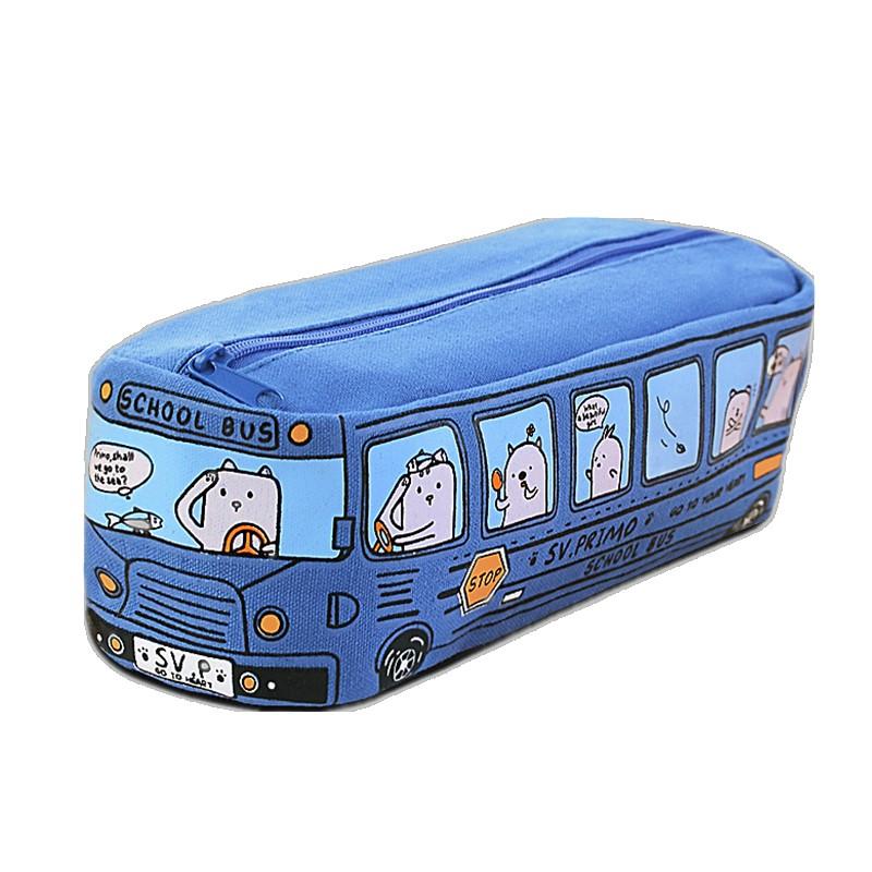 韩版创意个性搞怪汽车原创卡通帆布巴士高颜值笔袋女ins小学生大容量日系文具袋欧美铅笔盒网红文具盒盐系