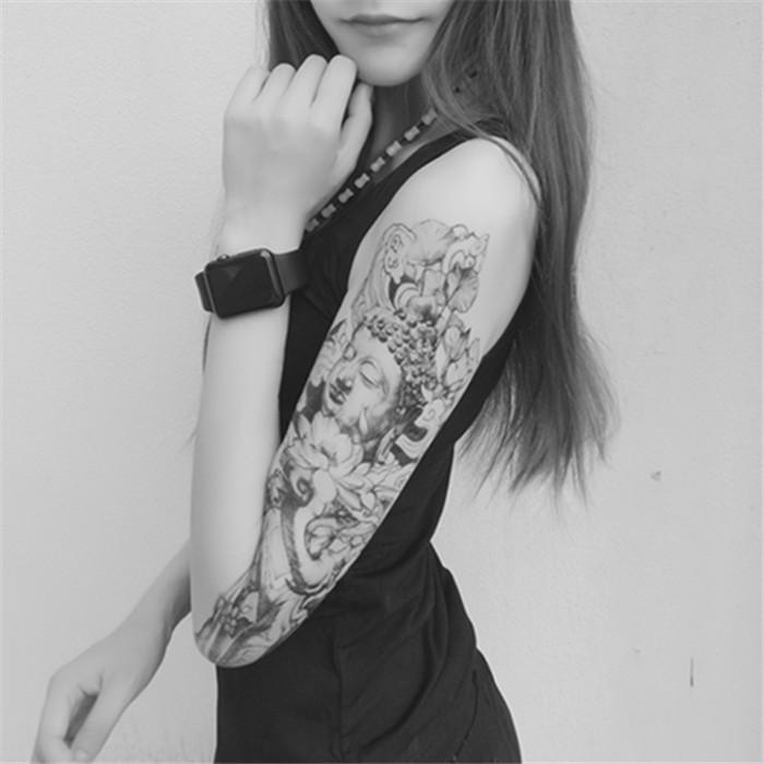 原创纹身贴纸 持久 全包 花臂 包小腿 佛头 莲花 象神 半甲 防水