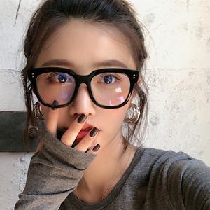 GM黑框粗框板材眼镜女网红款防蓝光辐射护目镜男大脸可配近视镜