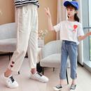 夏季薄款白色牛仔裤洋气休闲裤