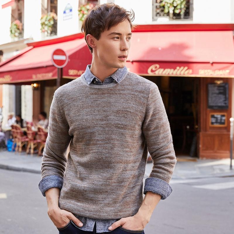 棉先生男装 时尚暖男 秋新款花纱羊仔毛圆领毛衣男长袖潮流针织衫