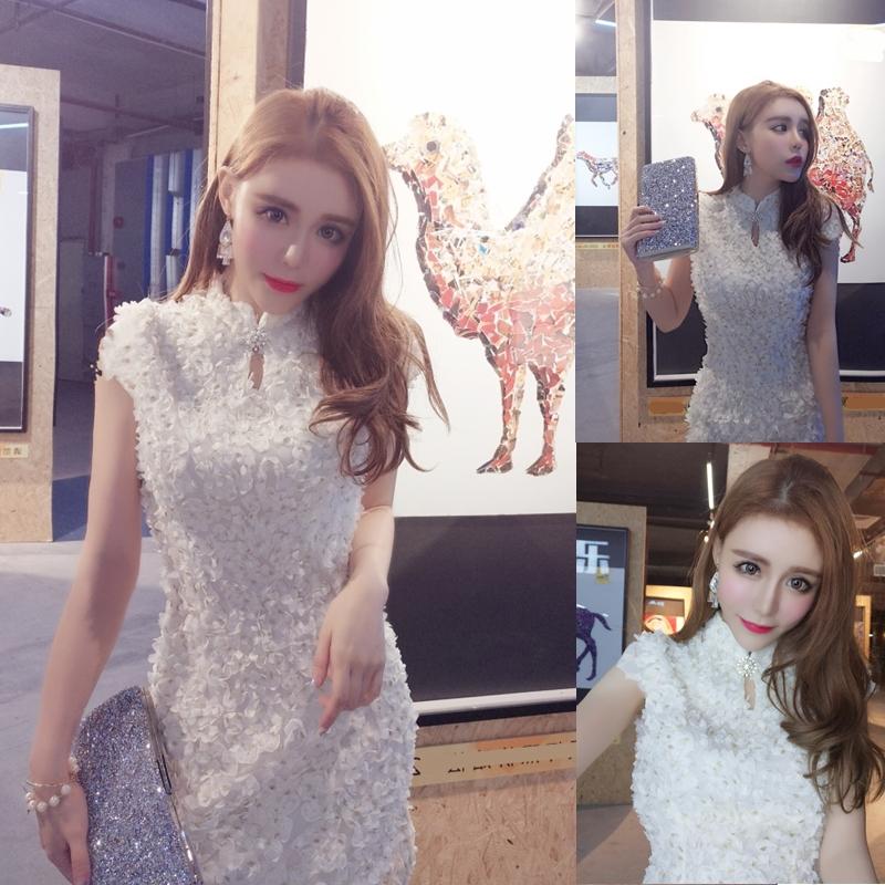 模特实拍!2017新款时尚韩版少女改良版短款日常文艺连衣裙