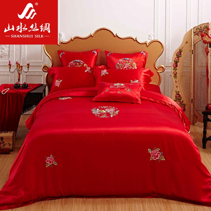 苏州山水丝绸 苏绣 婚庆套件 五件套 床上用品