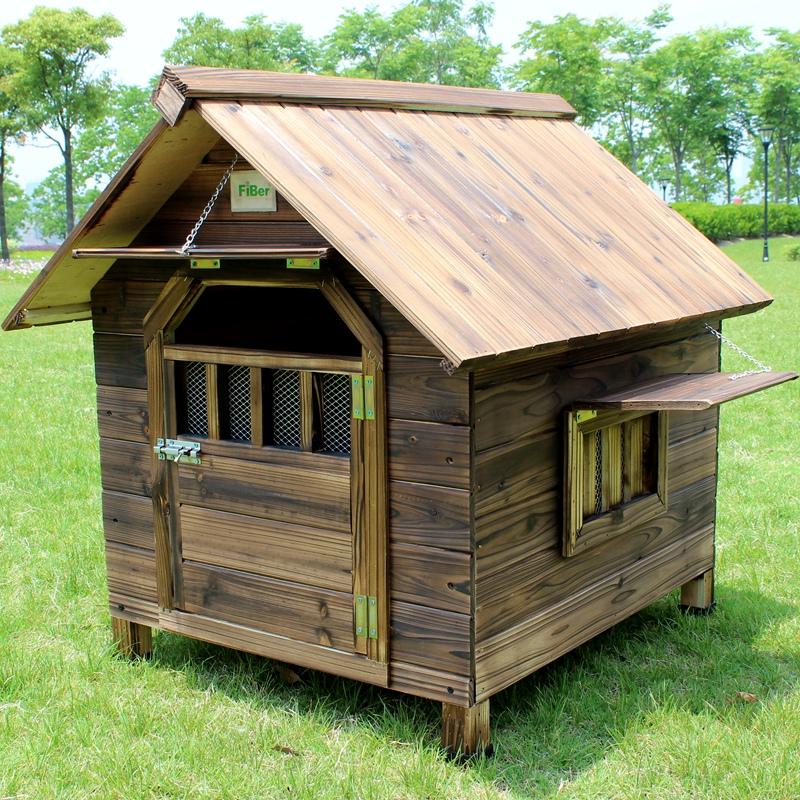 FIBER范博包邮室内户外用碳化防雨实木狗屋狗窝泰迪窝宠物窝猫窝