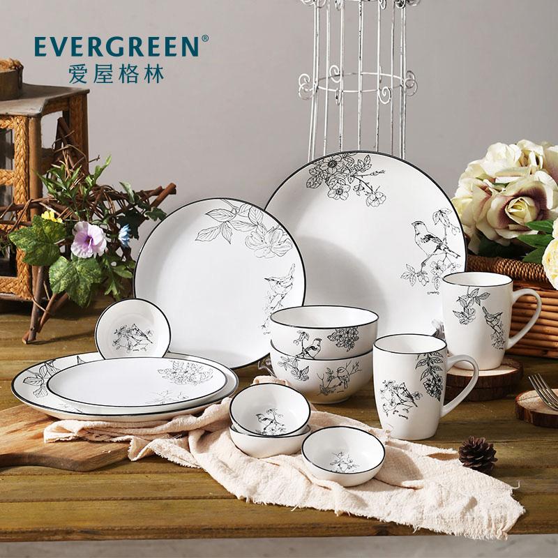 爱屋格林餐具套装碗碟盘子家用创意简约陶瓷中式鸟语花香系列送礼