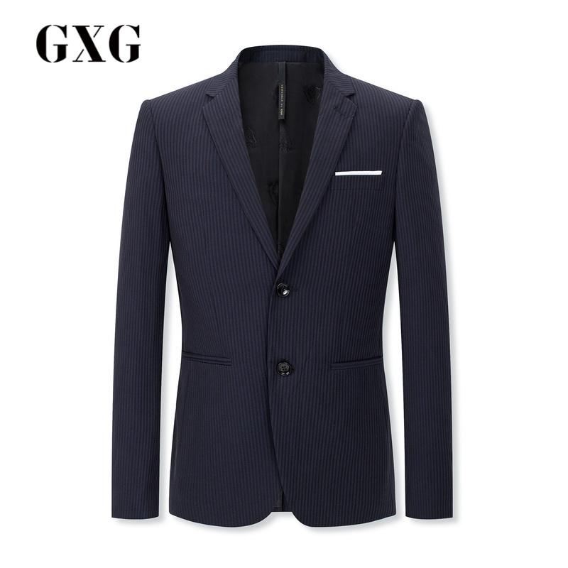 GXG男士 2018春季商场同款蓝黑条修身商务休闲西装#181113104