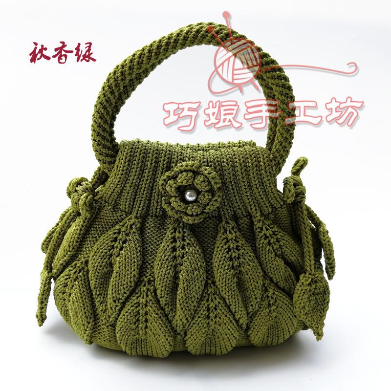空心线毛线针织女包 吉祥结叶子手提包 手工编织包 手钩包 妈妈图片