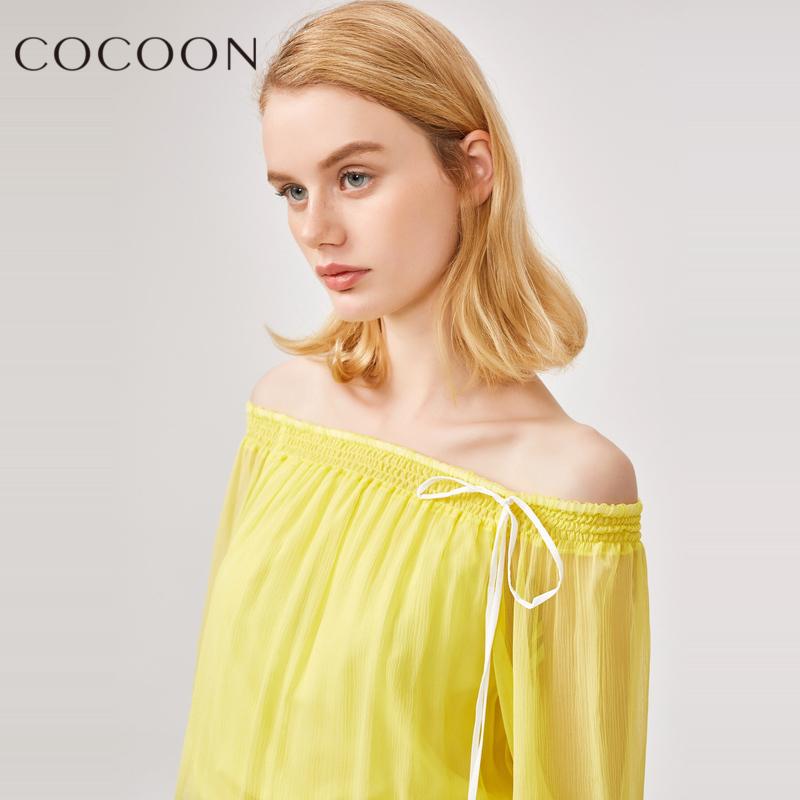 可可尼2018夏装新品女装系带蕾丝性感镂空上衣桑蚕丝