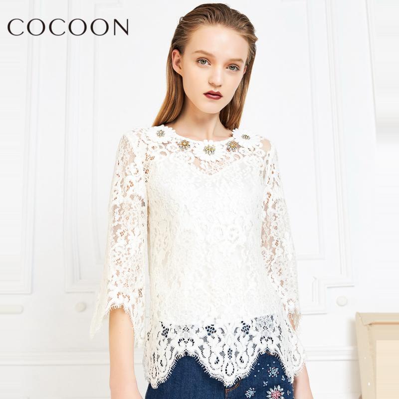 可可尼2018春秋装新品女装性感七分袖蕾丝衫两件套上衣