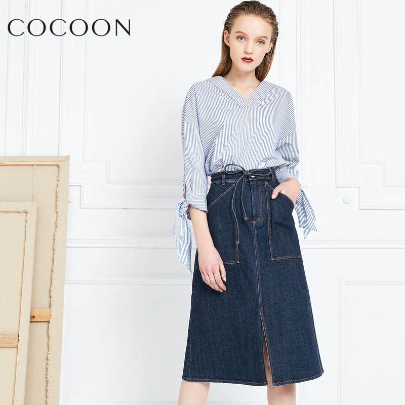可可尼2018春秋装新品女装修身中长款前开叉牛仔半身裙