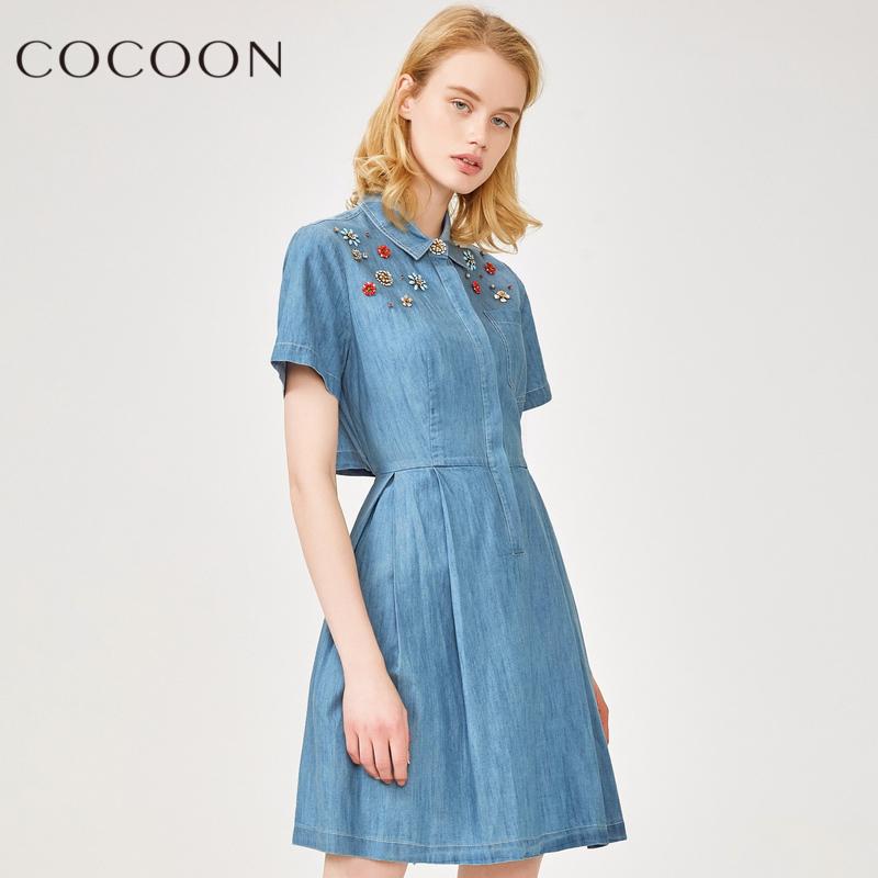 可可尼2018夏装新品女装镶钻短袖修身衬衫裙连衣裙