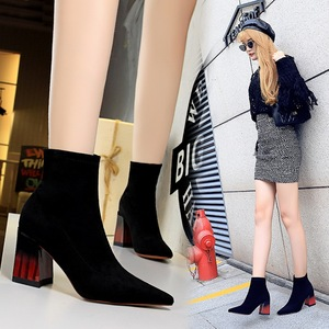 1718-2 the European and American fashion color matching wood with thick with female boots sexy high-heeled suede tines n