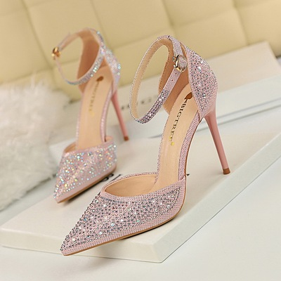 283-16 han edition high-heeled shoes high heel with shallow mouth sweet pointed shining diamond female sandals, hollow o