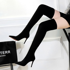 315-6 in Europe and the female fashion simple winter boot heel high-heeled suede sexy nightclub show thin knee-high boot