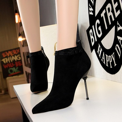 663-8 han edition style banquet short canister boots with ultra fine with suede tip diamond sexy show thin short boots