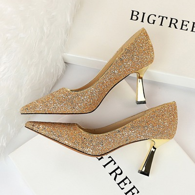 1878-1 the European and American wind fashion sexy shining sequins shallow mouth pointed high-heeled shoes women's