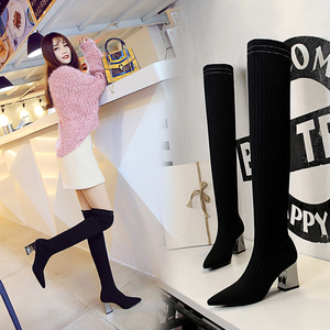 336-18 han edition fashion simple metal with thick with sexy high-heeled tines show thin boots wool knee-high boots