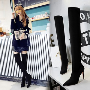 315-9 European and American wind high fashion with elastic leica thin with pointed sexy nightclub show thin pedicure kne