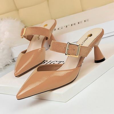 Han edition contracted baotou slippers high 906-1 with lighter pointed metal belt buckle and women slippers hollow out a