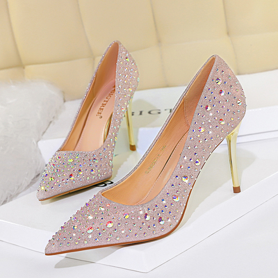 9237-1 han edition fashion sexy show thin metal with high heel with shallow mouth pointed diamond women's shoes hig