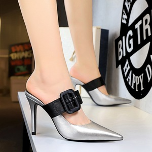 955-1 the European and American fashion contracted wind baotou drag high heel with shallow mouth pointed a word belt buc
